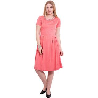 TightHugs Pink Viscose Round Neck Solid Midi Dress