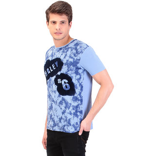 TAG 7 Light Blue Printed Lycra Round Neck Tee For Men