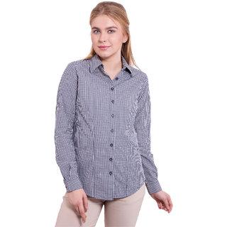 TightHugs Black Cotton Shirt Collar Long Sleeve Solid Shirt For Women