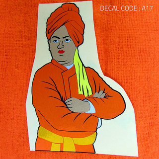 Swamy Vivekananda Multi Colour Radium Decal for Bike and Car