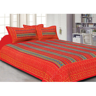Jaipuri Haat Kantha Work Embroidered Check Pattern Red King Size Bed Sheet