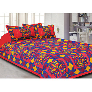 Jaipuri Haat Kantha Work Embroidered Elephant Printed Red King Size Bed Sheet