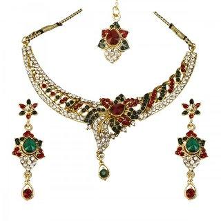 Prizeta Golden Crystal stone Floral Alloy Necklace Set - 4002002