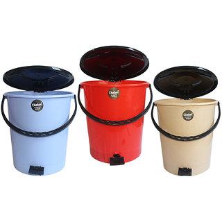 Chetan 3 pc (10 Litre) Pedal Bin Plastic Dustbin