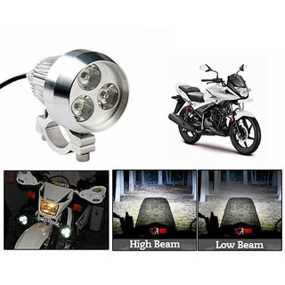 TAKECARE  3In1 Spot Beam 6000K 35W 3 Led Light+Flasher White FOR BAJAJ PLATINA ES