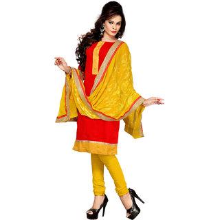 Style Mania Red Chanderi Embroidered Salwar Kameez