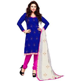 Style Mania Blue Chanderi Embroidered Churidar Salwar Kameez