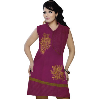 1261 Causal Wear Cotton Magenta Colour Embroidred Front Kurti