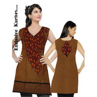 1269 Party Wear Linen Rust Colour Embroidred Neckline & Back Kurti