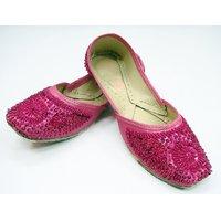Women's Beaded Indian Punjabi Shoe Pink Jooti Handmade Jutiya Flats