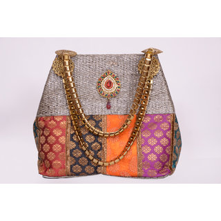 Miss She Divine Jute & Brocade Handbag