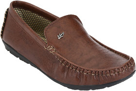 Knoos Men Brown Synthetic Leather Loafers