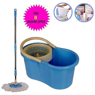 360 Rotating Spin Magic Mop & Bucket (Blue) With 2 Microfiber Mop Heads And Hand Gloves Set Of 4 (Astar-21)