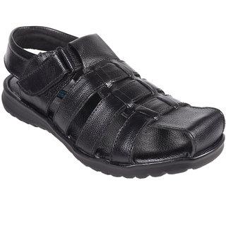 Knoos Men Leather Black Sandals
