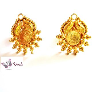Gold Plated Coin Stud Tops