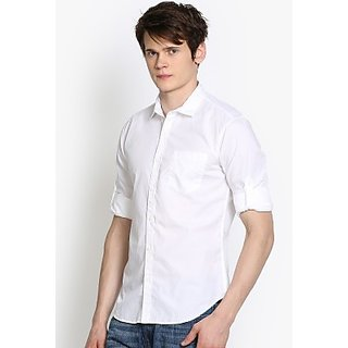Mens Solid Casual White Shirt