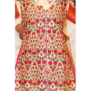 salujas art cotton suit in red multi color