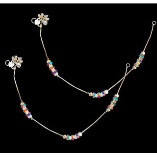 Sparkling Jewellery Silver Anklet With Multicolor Rolling Stone