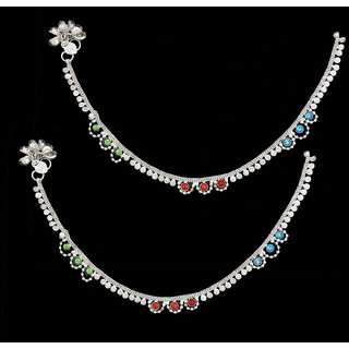 Sparkling Designer Silver Anklet With Multicolor Stone