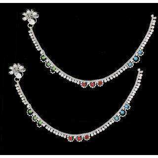 Sparkling Designer Silver Anklet With Multicolor Stone