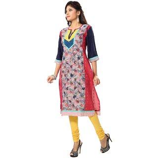 ARCH Multicolor Printed Cotton Semi Formal Kurti For Women
