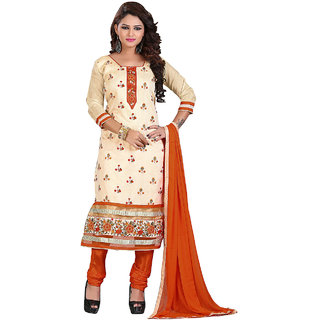 Shopeezo Beige Colored Chanderi Embroidered Dress Material