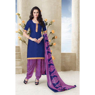 Kvsfab Pink And Blue Cotton Printed Salwar Suit Dress Material (Unstitched)
