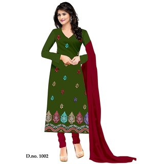 Jheenu Mehendi Crap Unstitched Dress Material