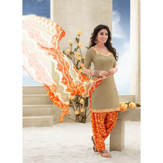 Kvsfab Orange And Beige Cotton Printed Salwar Suit Dress Material