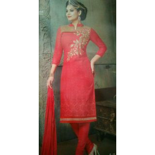 A   beautiful carrot red coloured party wear suit