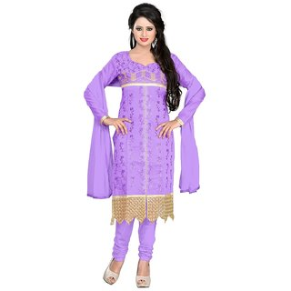 Parinaaz  Lavender Chanderi Top Straight Unstiched Salwar Suit Dress Material