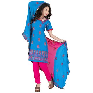 Parinaaz Blue embroidered Cotton unstitched salwar with dupatta