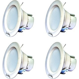 JaiLux LED 6w Down Light, Cut Size 90mm, Face Size 110mm, Pack of 4,Warm White Colour