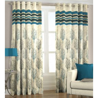 Just Linen Pair of Steel Blue Polyester Jacquard Door Eyelet Curtains