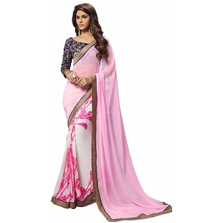 Shaili Pink and Off white Georgette Unstiched Saree
