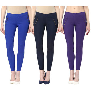 Zea-aL Royal Blue, Navy Blue  Purple Jeggings Combo