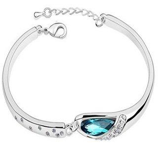 Caratcube Beautiful Crystal Blue Austrian Crystal Charming Bracelet for Women (CTC - 3)