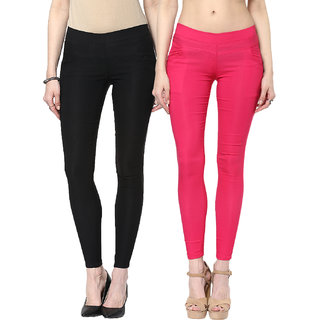 Zea-aL Black  Pink Jeggings