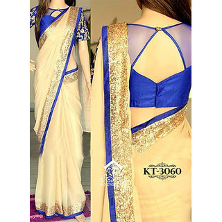 Helix Enterprise New Cream  Blue Georgette Designer Saree ,AHKT-3060