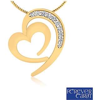 0.28ct Real Diamonds Crescent Heart Pendant 925 Sterling Silver Pendant P-0007