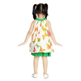 Little pocket store green butterfly dress