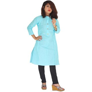 Garg Fashion Daily Waer Turquoise Coloured Cotton Stitched Kurti