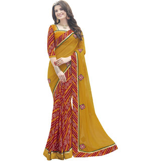 Manvaa Beige color Georgette  Printed Patch Work womens saree-IW5ICN40500