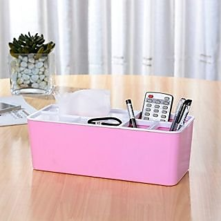 Urban Living Desktop Decorative Storage Box Compartments for Tissue Box Holder- Pink