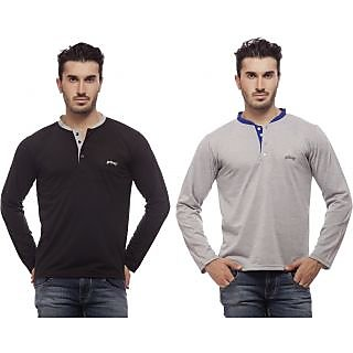 Grovey Henley Neck T-Shirts Combo Pack of 2 (Black, Grey)
