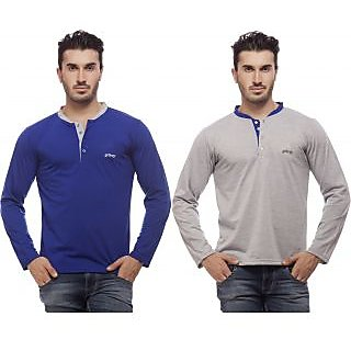Grovey Henley Neck T-Shirts Combo Pack of 2 (Royal Blue, Grey)
