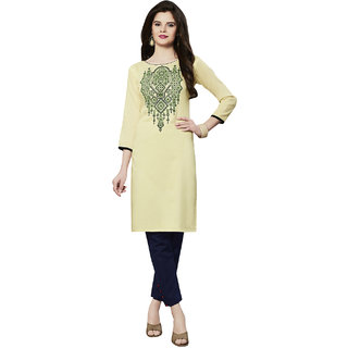 Kvsfab Cream Embroidered Rayon Stitched Kurti
