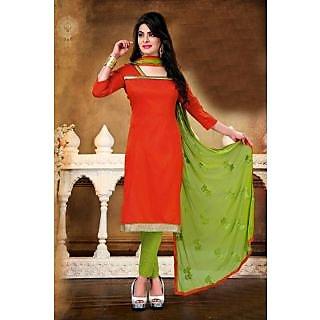 Aaina Orange Cotton Embroidered Dress Material (SB-3196)