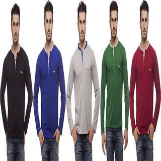 Grovey Henley Neck T-Shirts Combo Pack of 5 (Black, Royal Blue, Grey, Green, Mahroon)