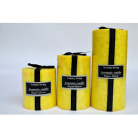Premium Lemon Grass Scented Marble Pillar Candle Set - Set Of 3